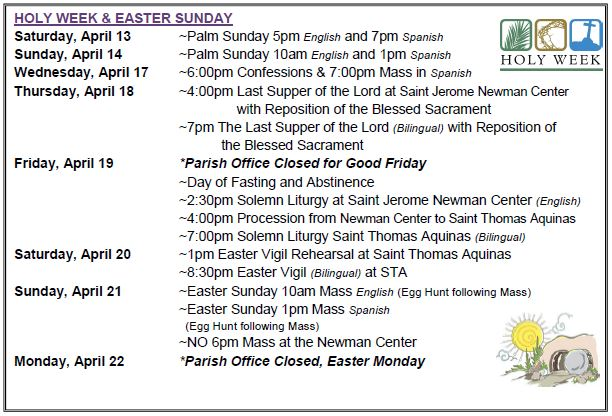 2019 Easter Schedule, English