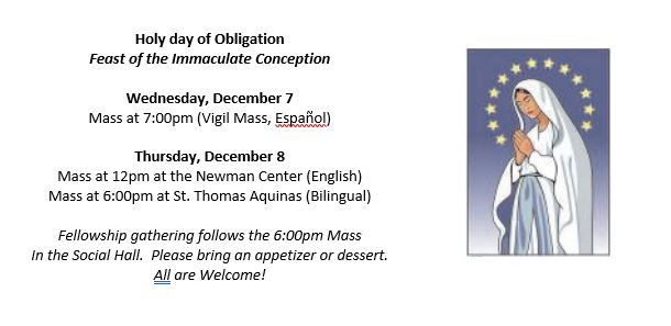 Feast of the Immaculate Conception Mass Schedule